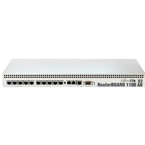 RouterBoard RB1100AHx2 1U rackmount, 13x Gigabit Ethernet, 1066MHz Dual Core CPU, 1.5GB RAM, RouterOS L6