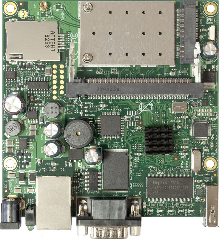 RouterBoard RB411UAHR 680MHz CPU, 64MB RAM, 1xEthernet, miniPCI, USB integrated 2.4Ghz wireless, SIM slots, RouterOS L4