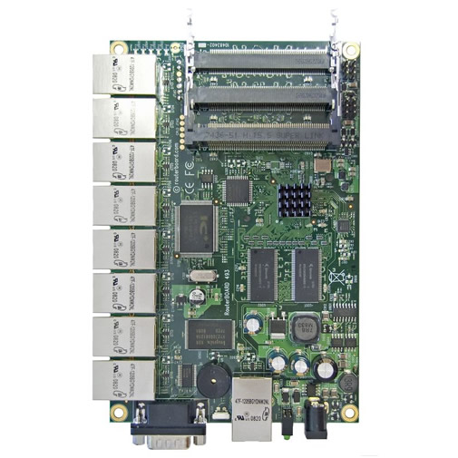 RouterBoard RB493 300MHz CPU, 64MB RAM, 9x Ethernet, 3xminiPCI, RouterOS L4