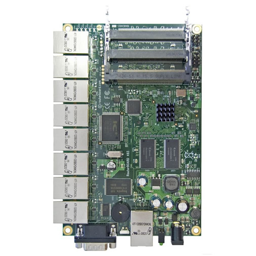 RouterBoard RB493AH 680MHz CPU, 128MB RAM, 9x Ethernet, 3x miniPCI, RouterOS L5